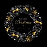 Decoración de la guirnalda de la Navidad del oro y del Año Nuevo Imágenes de archivo libres de regalías