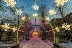 Decoración de la iluminación del Año Nuevo y de la Navidad de la ciudad Rusia, Fotografía de archivo