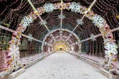 Decoración de la iluminación del Año Nuevo y de la Navidad de la ciudad Rusia, Fotos de archivo