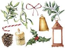 Decoración de la Navidad de la acuarela con la planta y las bayas Eucalipto pintado a mano, snowberry, campana, arco rojo, vela,  ilustración del vector