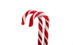 Decoración de la Navidad Bastón de caramelo tradicional del día de fiesta aislado encendido Imagen de archivo