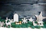 Decoración de la Navidad blanca con el abeto Imagenes de archivo