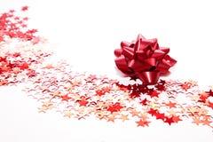 Decoración de la Navidad, cinta roja Foto de archivo libre de regalías