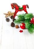 Decoración de la Navidad con el abeto y el pinecone Foto de archivo libre de regalías
