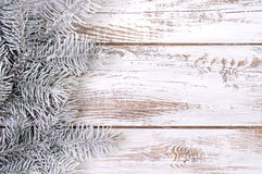 Decoración de la Navidad con el abeto y la nieve Fotografía de archivo