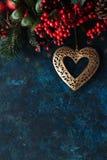 Decoración de la Navidad con el corazón Imágenes de archivo libres de regalías