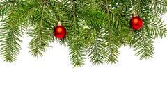 Decoración de la Navidad con el espacio para el texto en el fondo blanco Foto de archivo libre de regalías