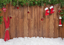 Decoración de la Navidad con el foco de Snow Foto de archivo