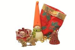 Decoración de la Navidad con el muñeco de nieve Fotografía de archivo libre de regalías