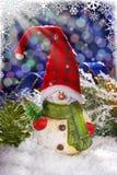 Decoración de la Navidad con el muñeco de nieve Foto de archivo