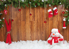 Decoración de la Navidad con el muñeco de nieve Imagenes de archivo