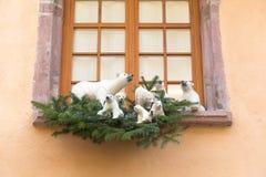 Decoración de la Navidad con el oso blanco en Estrasburgo Imagen de archivo