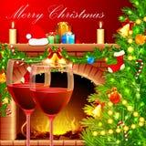 Decoración de la Navidad con el vidrio de vino fotos de archivo
