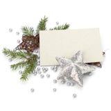 Decoración de la Navidad con la tarjeta de felicitación Imágenes de archivo libres de regalías