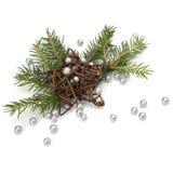 Decoración de la Navidad con la tarjeta de felicitación Imagen de archivo libre de regalías