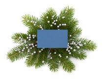 Decoración de la Navidad con la tarjeta de felicitación Imagenes de archivo