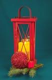Decoración de la Navidad con la vela Foto de archivo libre de regalías
