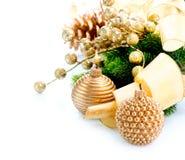 Decoración de la Navidad con la vela Imagen de archivo libre de regalías