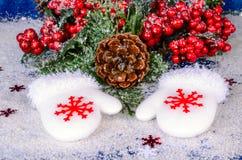 Decoración de la Navidad con las bayas rojas Imagen de archivo