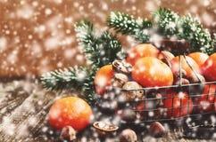 Decoración de la Navidad con las mandarinas maduras en cesta de alambre Foto de archivo