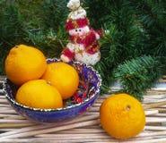 Decoración de la Navidad con las naranjas Fotos de archivo