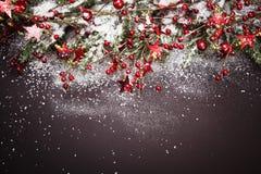 Decoración de la Navidad con las ramas del abeto en nieve Imagen de archivo libre de regalías