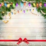 Decoración de la Navidad con las ramas del abeto EPS 10 Foto de archivo