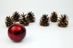 Decoración de la Navidad con los conos del pino imagen de archivo