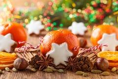 Decoración de la Navidad con los mandarines Fotografía de archivo