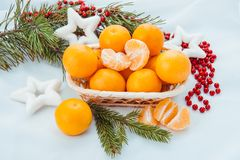 Decoración de la Navidad con los mandarines y el árbol de abeto Fotografía de archivo libre de regalías