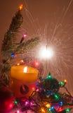 Decoración de la Navidad con los sparklers Fotografía de archivo