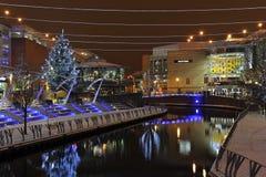 Decoración de la Navidad de la ciudad de la lectura Foto de archivo libre de regalías