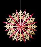 Decoración de la Navidad de la estrella de la paja sobre negro Imágenes de archivo libres de regalías