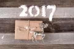 Decoración 2017 de la Navidad de la Feliz Año Nuevo Fotografía de archivo