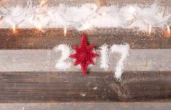 Decoración 2017 de la Navidad de la Feliz Año Nuevo Foto de archivo libre de regalías
