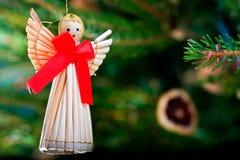 Decoración de la Navidad de la paja Foto de archivo