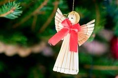 Decoración de la Navidad de la paja Fotos de archivo