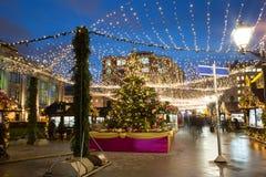 Decoración de la Navidad de las calles de Moscú Foto de archivo