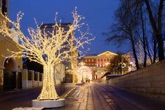 Decoración de la Navidad de las calles de Moscú Fotos de archivo