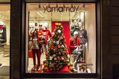 Decoración de la Navidad del boutique Yamamay de la moda Foto de archivo