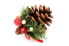 Decoración de la Navidad del cono del pino Fotografía de archivo