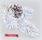 Decoración de la Navidad del cono del pino blanco icono del vector 3d foto de archivo