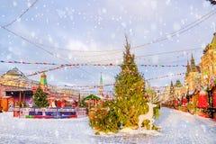 Decoración de la Navidad del cuadrado rojo en Moscú Imagen de archivo