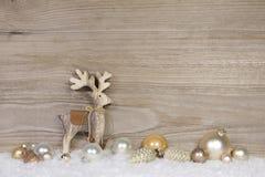 Decoración de la Navidad del estilo rural para una tarjeta de felicitación con madera Fotografía de archivo
