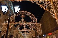 Decoración de la Navidad del invierno de Moscú, Rusia Foto de archivo
