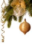 Decoración de la Navidad del oro Imágenes de archivo libres de regalías
