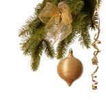 Decoración de la Navidad del oro Imagen de archivo