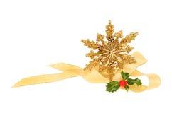 Decoración de la Navidad del oro Fotografía de archivo