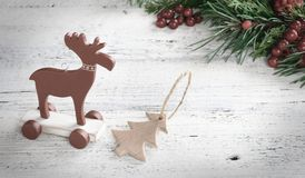 Decoración de la Navidad del vintage para el fondo Estilo escandinavo Imagen de archivo libre de regalías