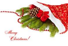 Decoración de la Navidad. El abeto ramifica, capsula, las bolas, cono del pino en whi Foto de archivo libre de regalías